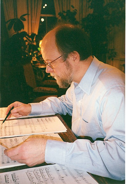 Charles Wuorinen at home