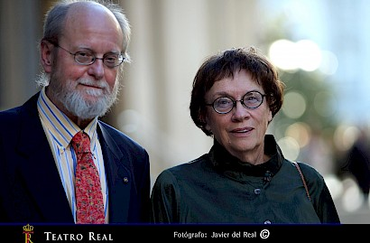 Wuorinen, Proulx outside the Teatro Real, Madrid